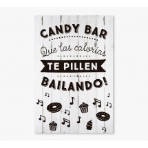 Cartel Boda Candy Bar Blanco